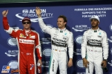 The Top Three Qualifiers : Third Place Kimi Räikkönen (Scuderia Ferrari), Pole Position Nico Rosberg (Mercedes AMG F1 Team) and Second Place Lewis Hamilton (Mercedes AMG F1 Team)