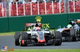 Romain Grosjean (Haas F1 Team, VF16) and Nico Hülkenberg (Force India F1 Team, VJM09)
