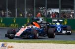 Pascal Wehrlein (Manor Racing Team, MRT05) and Marcus Ericsson (Sauber F1 Team, C35)