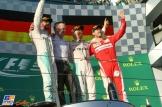 The Podium : Second Place Lewis Hamilton (Mercedes AMG F1 Team), Race Winner Nico Rosberg (Mercedes AMG F1 Team) and Sebastian Vettel (Scuderia Ferrari)
