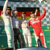 The Podium : Second Place Lewis Hamilton (Mercedes AMG F1 Team), Race Winner Nico Rosberg (Mercedes AMG F1 Team) and Sebastian Vettel (Scuderia Ferrari)