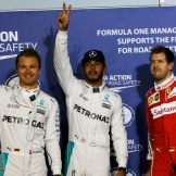 The Top Three Qualifiers : Second Place Nico Rosberg (Mercedes AMG F1 Team), Pole Position Lewis Hamilton (Mercedes AMG F1 Team) and Third Place Sebastian Vettel (Scuderia Ferrari)