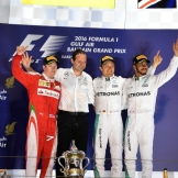 The Podium : Second Place Kimi Räikkönen (Scuderia Ferrari), Race Winner Nico Rosberg (Mercedes AMG F1 Team) and Third Place Lewis Hamilton (Mercedes AMG F1 Team)