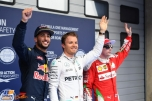 The Top Three Qualifiers : Second Place Daniel Ricciardo (Red Bull Racing), Pole Position Nico Rosberg (Mercedes AMG F1 Team) and Third Place Kimi Räikkönen (Scuderia Ferrari)