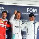 The Top Three Qualifiers : Second Place Sebastian Vettel (Scuderia Ferrari), Pole Position Nico Rosberg (Mercedes AMG F1 Team) and Third Place Valtteri Bottas (Williams F1 Team)