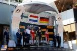 The Podium : Second Place Kimi Räikkonen (Scuderia Ferrari), Race Winner Max Verstappen (Red Bull Racing) and Third Place Sebastian Vettel (Scuderia Ferrari)