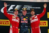 The Podium : Second Place Kimi Räikkonen (Scuderia Ferrari), Race Winner Max Verstappen (Red Bull Racing) and Third Place Sebastian Vettel (Scuderia Ferrari)