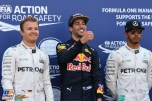The Top Three Qualifiers : Second Place Nico Rosberg (Mercedes AMG F1 Team), Pole Position Daniel Ricciardo (Red Bull Racing) and Third Place Lewis Hamilton (Mercedes AMG F1 Team)