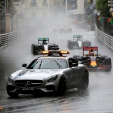 The Safety Car leading the field