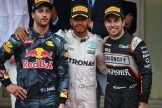 The Podium : Second Place Daniel Ricciardo (Red Bull Racing), Race Winner Lewis Hamilton (Mercedes AMG F1 Team) and Third Place Sergio Pérez (Force India F1 Team)
