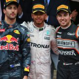 The Podium : Second Place Daniel Ricciardo (Red Bull Racing), Race Winner Lewis Hamilton (Mercedes AMG F1 Team) and Third Place Sergio Pérez (Force India F1 Team)