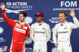 The Top Three Qualifiers : Third Place Sebastian Vettel (Scuderia Ferrari), Pole Position Lewis Hamilton (Mercedes AMG F1 Team) and Second Place Nico Rosberg (Mercedes AMG F1 Team)