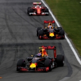 Max Verstappen (Red Bull Racing, RB12), Daniel Ricciardo (Red Bull Racing, RB12) and Sebastian Vettel (Scuderia Ferrari, SF16-H)
