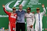 The Podium : Second Place Sebastian Vettel (Scuderia Ferrari), Race Winner Lewis Hamilton (Mercedes AMG F1 Team) and Third Place Valtteri Bottas (Williams F1 Team)