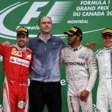 The Podium : Second Place Sebastian Vettel (Scuderia Ferrari), Race Winner Lewis Hamilton (Mercedes AMG F1 Team) and Third Place Valtteri Bottas (Williams F1 Team)