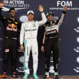 The Top Three Qualifiers : Third Place Daniel Ricciardo (Red Bull Racing), Pole Position Nico Rosberg (Mercedes AMG F1 Team) and Second Place Sergio Pérez (Force India F1 Team)
