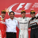 The Podium : Second Place Sebastian Vettel (Scuderia Ferrari), Race Winner Nico Rosberg (Mercedes AMG F1 Team) and Third Place Sergio Pérez (Force India F1 Team)