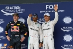 The Top Three Qualifiers : Third Place Max Verstappen (Red Bull Racing), Pole Position Lewis Hamilton (Mercedes AMG F1 Team) and Second Place Nico Rosberg (Mercedes AMG F1 Team)