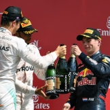 The Podium : Second Place Nico Rosberg (Mercedes AMG F1 Team), Race Winner Lewis Hamilton (Mercedes AMG F1 Team) and Third Place Max Verstappen (Red Bull Racing)