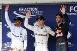 The Top Three Qualifiers : Second Place Lewis Hamilton (Mercedes AMG F1 Team), Pole Position Nico Rosberg (Mercedes AMG F1 Team) and Third Place Daniel Ricciardo (Red Bull Racing)