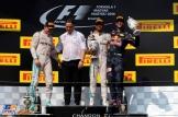 The Podium : Second Place Nico Rosberg (Mercedes AMG F1 Team), Race Winner Lewis Hamilton (Mercedes AMG F1 Team) and Third Place Daniel Ricciardo (Red Bull Racing)