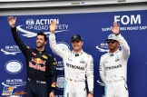 The Top Three Qualifiers : Third Place Daniel Ricciardo (Red Bull Racing), Pole Position Nico Rosberg (Mercedes AMG F1 Team) and Second Place Lewis Hamilton (Mercedes AMG F1 Team)