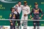 The Podium : Second Place Daniel Ricciardo (Red Bull Racing), Race Winner Lewis Hamilton (Mercedes AMG F1 Team) and Third Place Max Verstappen (Red Bull Racing)