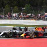 Max Verstappen (Red Bull Racing, RB12) and Nico Rosberg (Mercedes AMG F1 Team, F1 W07 Hybrid)