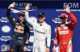 The Top Three Qualifiers : Second Place Max Verstappen (Red Bull Racing), Pole Position Nico Rosberg (Mercedes AMG F1 Team) and Third Place Kimi Räikkönen (Scuderia Ferrari)