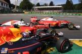 Max Verstappen (Red Bull Racing, RB12), Kimi Räikkönen and Sebastian Vettel (Scuderia Ferrari, SF16-H)