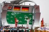 The Podium : Second Place Sebasian Vettel (Scuderia Ferrari) and Race Winner Nico Rosberg (Mercedes AMG F1 Team)