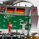 The Podium : Second Place Sebasian Vettel (Scuderia Ferrari) and Race Winner Nico Rosberg (Mercedes AMG F1 Team)