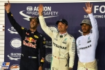The Top Three Qualifiers : Second Place Daniel Ricciardo (Red Bull Racing), Pole Position Nico Rosberg (Mercedes AMG F1 Team) and Third Place Lewis Hamilton (Mercedes AMG F1 Team)