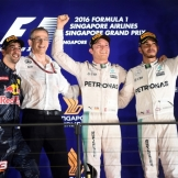 The Podium : Second Place Daniel Ricciardo (Red Bull Racing), Race Winner Nico Rosberg (Mercedes AMG F1 Team) and Third Place Lewis Hamilton (Mercedes AMG F1 Team)