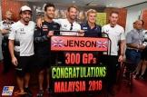 Jenson Button (McLaren Honda) Celebrating his 300 GPs with Fernando Alonso (McLaren Honda), Daniel Ricciardo (Red Bull Racing), Marcus Ericsson (Sauber F1 Team) and Stoffel Vandoorne (McLaren Honda)