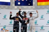 The Podium : Second Place Max Verstappen (Red Bull Racing), Race Winner Daniel Ricciardo (Red Bull Racing) and Third Place Nico Rosberg (Mercedes AMG F1 Team)