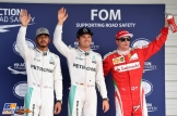 The Top Three Qualifiers : Second Place Lewis Hamilton (Mercedes AMG F1 Team), Pole Position Nico Rosberg (Mercedes AMG F1 Team) and Third Place Kimi Räikkönen (Scuderia Ferrari)