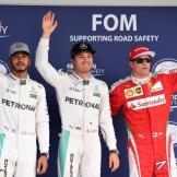 The Top Three Qualifiers : Second Place Lewis Hamilton (Mercedes AMG F1 Team), Pole Position Nico Rosberg (Mercedes AMG F1 Team) and Third Place Kimi Räikkönen (Scuderia Ferrari)