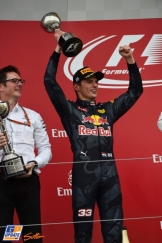 Max Verstappen (Red Bull Racing) celebrating his Second Place