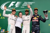 The Podium : Second Place Nico Rosberg (Mercedes AMG F1 Team), Race Winner Lewis Hamilton (Mercedes AMG F1 Team) and Third Place Daniel Ricciardo (Red Bull Racing)