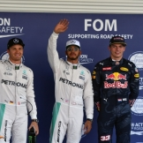 The Top Three Qualifiers : Second Place Nico Rosberg (Mercedes AMG F1 Team), Pole Position Lewis Hamilton (Mercedes AMG F1 Team) and Third Place Max Verstappen (Red Bull Racing)