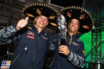 Daniell Ricciardo and Max Verstappen celebrating the Third Place for Daniell Ricciardo