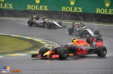 Max Verstappen (Red Bull Racing, RB12) and Sergio Peréz and Nico Hülkenberg (Force India F1 Team, VJM09)