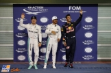 The Top Three Qualifiers : Second Place Nico Rosberg (Mercedes AMG F1 Team), Pole Position Lewis Hamilton (Mercedes AMG F1 Team) and Third Place Daniel Ricciardo (Red Bull Racing)
