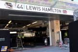 The Pit Box for Lewis Hamilton, Mercedes AMG F1 Team
