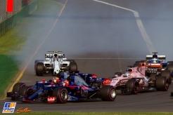 Carlos Sainz Jr. and Daniil Kvyat (Scuderia Toro Rosso, STR12) and Sergio Pérez (Force India F1 Team, VJM10, Kimi Räikkönen, Kimi Raikkonen, Sebastian Vettel, Scuderia Ferrari, Ferrari, SF70-H,