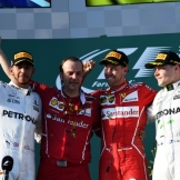 The Top Three : Second Place Lewis Hamilton (Mercedes AMG F1 Team), Race Winner Sebastian Vettel (Scuderia Ferrari) and Third Place Valtteri Bottas (Mercedes AMG F1 Team)