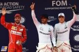 The Top Three Qualifiers : Second Place Sebastian Vettel (Scuderia Ferrari), Pole Position Lewis Hamilton (Mercedes AMG F1 Team) and Third Place Valtteri Bottas (Mercedes AMG F1 Team)