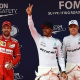 The Top Three Qualifiers : Second Place Sebastian Vettel (Scuderia Ferrari), Pole Position Lewis Hamilton (Mercedes AMG F1 Team) and Third Place Valtteri Bottas (Mercedes AMG F1 Team)