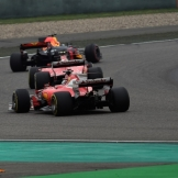 Daniel Ricciardo (Red Bull Racing, RB13), Kimi Räikkönen and Sebastian Vettel (Scuderia Ferrari, SF70-H)